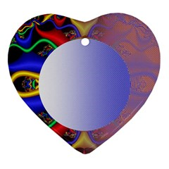 Texture Circle Fractal Frame Ornament (Heart)