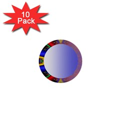 Texture Circle Fractal Frame 1  Mini Buttons (10 pack)