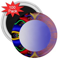 Texture Circle Fractal Frame 3  Magnets (100 Pack)