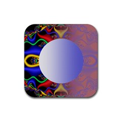 Texture Circle Fractal Frame Rubber Square Coaster (4 Pack)