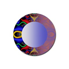 Texture Circle Fractal Frame Rubber Round Coaster (4 pack)
