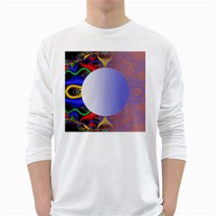 Texture Circle Fractal Frame White Long Sleeve T Shirts