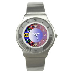 Texture Circle Fractal Frame Stainless Steel Watch