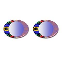 Texture Circle Fractal Frame Cufflinks (Oval)