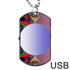 Texture Circle Fractal Frame Dog Tag USB Flash (Two Sides)