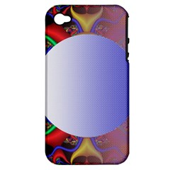 Texture Circle Fractal Frame Apple iPhone 4/4S Hardshell Case (PC+Silicone)