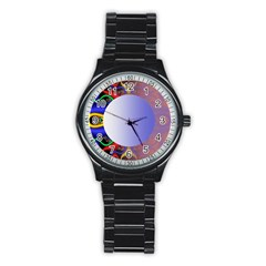 Texture Circle Fractal Frame Stainless Steel Round Watch