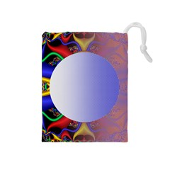 Texture Circle Fractal Frame Drawstring Pouches (Medium)