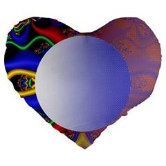Texture Circle Fractal Frame Large 19  Premium Flano Heart Shape Cushions