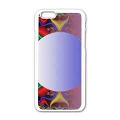 Texture Circle Fractal Frame Apple iPhone 6/6S White Enamel Case