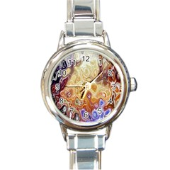 Space Abstraction Background Digital Computer Graphic Round Italian Charm Watch