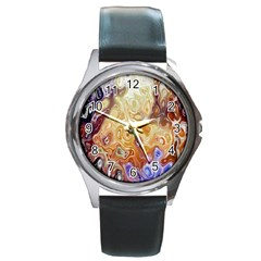 Space Abstraction Background Digital Computer Graphic Round Metal Watch