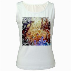 Space Abstraction Background Digital Computer Graphic Women s White Tank Top