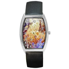 Space Abstraction Background Digital Computer Graphic Barrel Style Metal Watch