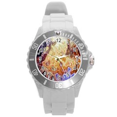 Space Abstraction Background Digital Computer Graphic Round Plastic Sport Watch (L)
