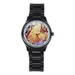 Space Abstraction Background Digital Computer Graphic Stainless Steel Round Watch