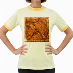 3d Glass Frame With Fractal Background Women s Fitted Ringer T Shirts