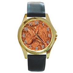 3d Glass Frame With Fractal Background Round Gold Metal Watch