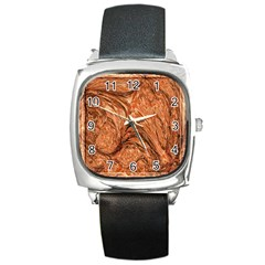 3d Glass Frame With Fractal Background Square Metal Watch
