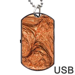 3d Glass Frame With Fractal Background Dog Tag Usb Flash (two Sides)