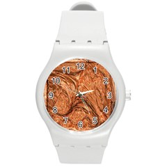 3d Glass Frame With Fractal Background Round Plastic Sport Watch (M)