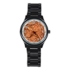 3d Glass Frame With Fractal Background Stainless Steel Round Watch