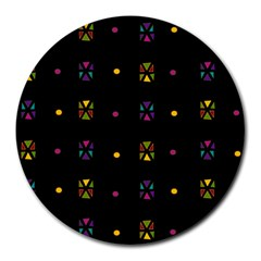 Abstract A Colorful Modern Illustration Black Background Round Mousepads