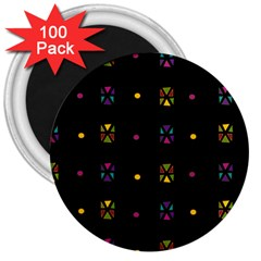 Abstract A Colorful Modern Illustration Black Background 3  Magnets (100 Pack)