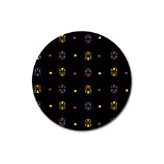 Abstract A Colorful Modern Illustration Black Background Magnet 3  (round)