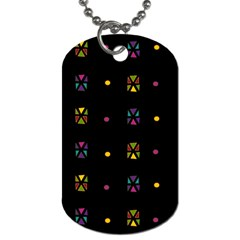 Abstract A Colorful Modern Illustration Black Background Dog Tag (Two Sides)