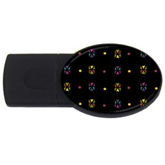 Abstract A Colorful Modern Illustration Black Background Usb Flash Drive Oval (2 Gb)