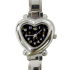 Abstract A Colorful Modern Illustration Black Background Heart Italian Charm Watch