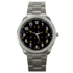 Abstract A Colorful Modern Illustration Black Background Sport Metal Watch