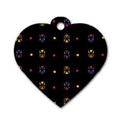 Abstract A Colorful Modern Illustration Black Background Dog Tag Heart (two Sides)