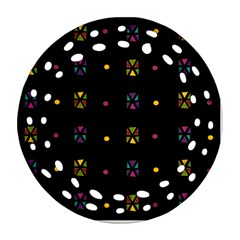 Abstract A Colorful Modern Illustration Black Background Round Filigree Ornament (Two Sides)