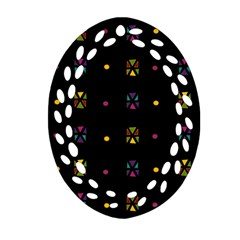Abstract A Colorful Modern Illustration Black Background Oval Filigree Ornament (two Sides)