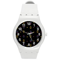 Abstract A Colorful Modern Illustration Black Background Round Plastic Sport Watch (M)