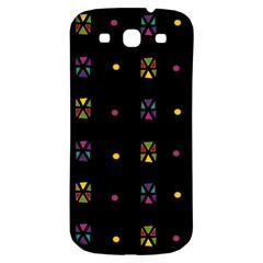 Abstract A Colorful Modern Illustration Black Background Samsung Galaxy S3 S III Classic Hardshell Back Case