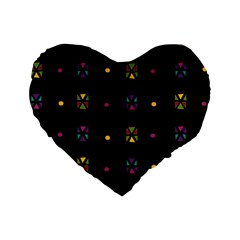 Abstract A Colorful Modern Illustration Black Background Standard 16  Premium Heart Shape Cushions