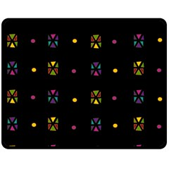 Abstract A Colorful Modern Illustration Black Background Double Sided Fleece Blanket (Medium)