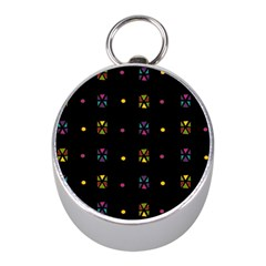 Abstract A Colorful Modern Illustration Black Background Mini Silver Compasses