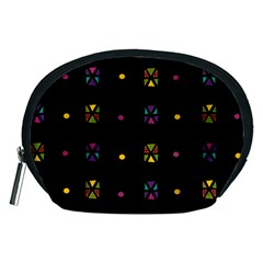Abstract A Colorful Modern Illustration Black Background Accessory Pouches (medium)