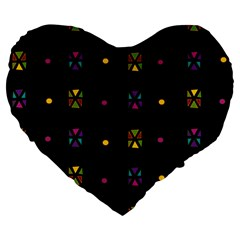 Abstract A Colorful Modern Illustration Black Background Large 19  Premium Flano Heart Shape Cushions