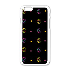 Abstract A Colorful Modern Illustration Black Background Apple iPhone 6/6S White Enamel Case