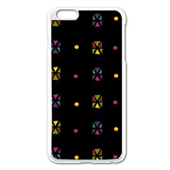 Abstract A Colorful Modern Illustration Black Background Apple iPhone 6 Plus/6S Plus Enamel White Case