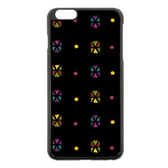 Abstract A Colorful Modern Illustration Black Background Apple iPhone 6 Plus/6S Plus Black Enamel Case