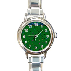 Green Abstract A Colorful Modern Illustration Round Italian Charm Watch