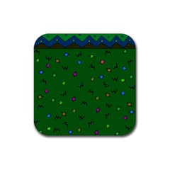 Green Abstract A Colorful Modern Illustration Rubber Square Coaster (4 Pack)