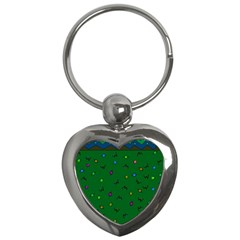 Green Abstract A Colorful Modern Illustration Key Chains (Heart)