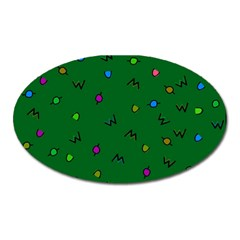 Green Abstract A Colorful Modern Illustration Oval Magnet